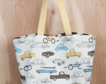 Beach Tote- Vintage Cars and Trucks Canvas Tote bag- Chocolate Giraffe- by beckyzimmdesign