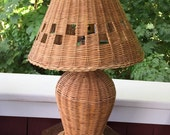Wicker Ratten Lamp with shade