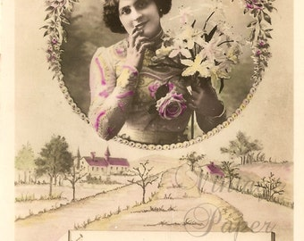 Pretty Young Edwardian Woman in Flower Frame & Rural Scene Antique French Photo Postcard, Tinted Photo Post Card from Vintage Paper Attic