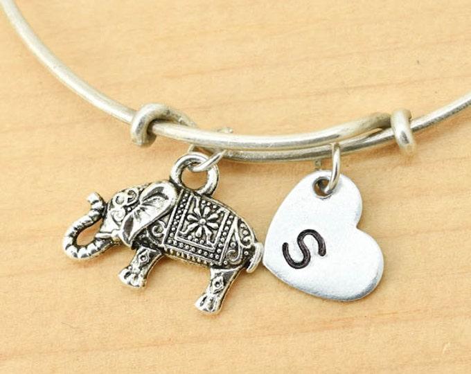 Elephant Bangle, Sterling Silver Bangle, Elephant Bracelet, Bridesmaid Gift, Personalized Bracelet, Charm Bangle, Initial Bracelet