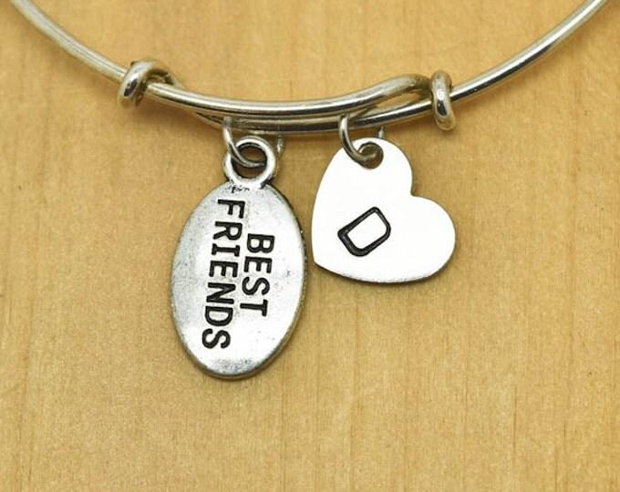 Best Friend Bangle, Sterling Silver Bangle, Best Friend Bracelet, Bridesmaid Gift, Personalized Bracelet, Charm Bangle, Initial Bracelet