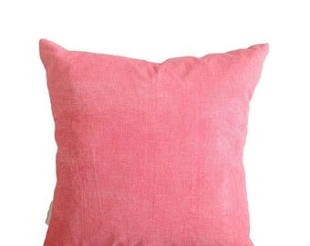 Flamingo pink linen cushion cover