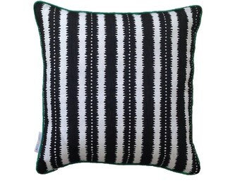 Black and White Jagged stipes linen cushion cover
