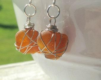 Wire Wrapped Light Amber Beach Glass Earrings, Lake Erie Beach Glass, Drop Earrings, Nickel-Free Earrings, Free Shipping