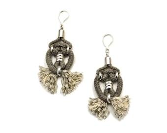 Tribal Rope Earrings, Fiber Art Earrings, Drop Earrings, Fabric Chandeliers, Hippie Earrings, Gray Earrings