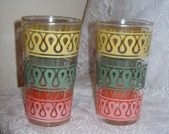 Vintage Yellow, Aqua & Pink Trimmed Glasses Tumblers Mid Century Pair Just 5 USD