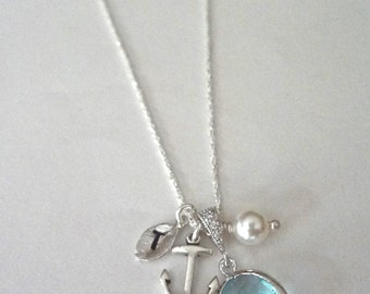 Personalized nautical necklace - Sterling silver - Anchor - Aquamarine ~ Czech glass ~ Hand stamped initial - Beach wedding jewelry ~ Gift