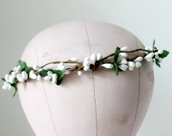 White Berries Crown, Flower Crown. Woodland, Fall, Autumn, bridal crown, Bridal headpiece, Hair Accessories, Floral, Bohemian Halo