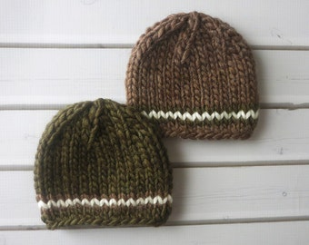 Newborn Dark Green and Brown Chunky Wool Knit Beanies  - Boy Twin Set - Ready to Ship Photography Prop, RTS Photo Prop