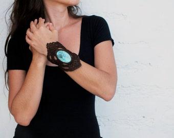 Turquoise cuff bracelet, Azurite bracelet, Crochet jewelry,  Womens Tribal bracelet, Wide cuff bracelet, Lace bracelet, Stone cuff bracelet