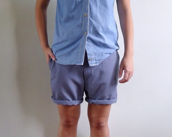 Vintage Mens 70's Dusty Blue Gray Tailored Shorts S 30 31 32