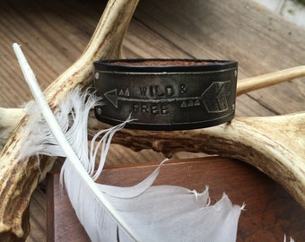 Leather Bracelet Cuff, Wild & Free, Arrow Bracelet, Hand stamped, etched