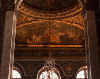 Versailles Photograph, Architecture Print, Gold Home Decor, Window Photograph, French Decor, Chandelier Photo, Ceiling Art, Interior Decor
