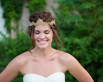 Gold Crown Bridal Headpiece, Lace Halo with Rhinestone Chain, Wedding Headband, Rhinestones and lace vine - HB629