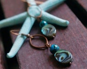Copper Abalone shell earrings with green Jasper stone
