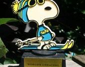 vintage Snoopy Trophy Worlds Greatest Skier Aviva 1950s Plastic novelty Peanuts Gang Trophy