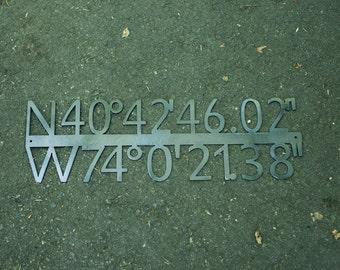 New York City GPS Coordinate Latitude Longitude Steel Sign - NYC GPS Coordinates- Metal Sign - Custom Gift-House Warming Gift