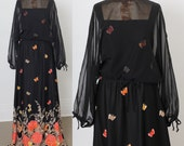Hold for Cruella: 1960s Black Maxidress, Butterfly Orange Yellow Tan Print, Sheer Batwing Sleeves, 60s Maxi Dress size Medium