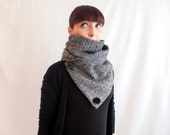 Cowl neck scarf, herringbone scarf, black scarf, unisex scarf, women's scarf, men's scarf, gift for her, black shawl