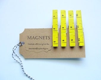 Yellow Clothespin Magnets, Tape Measure Magnets, Ruler, Clothespin Magnets, Party Favors, Office Organization, Neodymium Magnets