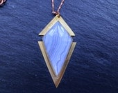 Sale - Blue Chalcedony Diamond Necklace - Brass