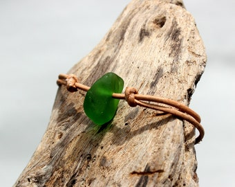 Hawaiian Unique Emerald Green Beach Glass on India Leather Cord Completely Adjustable & Stackable Bracelet