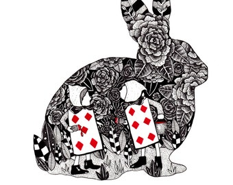 Alice In Wonderland Art Print // Alice Illustration // Pen and Ink Drawing // Painting the roses red // Lewis Carroll Art // Rabbit print