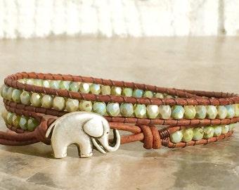 FREE SHIPPING Leather Wrap Bracelet, Chan Luu Inspired,Good Luck Elephant, Double Wrap, EnhanceYourWrists