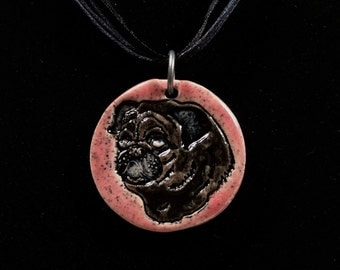 Black Pug on Pink - Ceramic Pendant