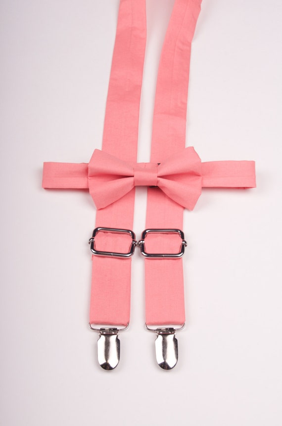 coral bow tie suspenders melon bow tie and by dappergent