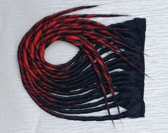 Jet Black & Red Ombre Clip in Dread Hair Extension Hand Wefted up to 24 inches Long Made To Order