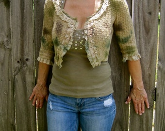 Cropped Sweater Jacket Crop Soft Knit Hand Dyed Lace Edging Moss Green Gold Brown Tie Dye Bolero 3/4 Sleeves No Closure Size Small to Medium