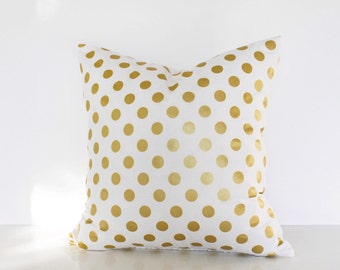 16 or 18 inch throw pillow, Michael Miller glitz, Polka dots white with metallic gold, with zipper. For indoor use. Polkadot rounds