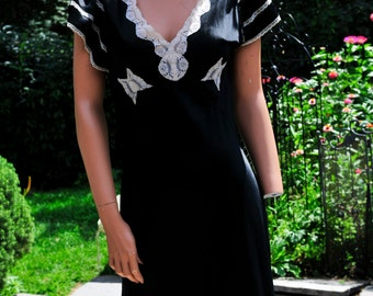 Vintage Black Silk & Lace Dress