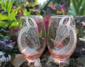 Custom wine glasses peachy pink dragon engraved wine glass set of two , etched pink wine glass