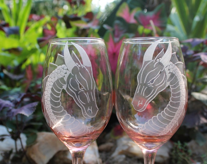 Dragon wine glasses Hand Engraved  wine glasses peachy pink dragon engraved wine glass set of two etched pink wine glass  coral