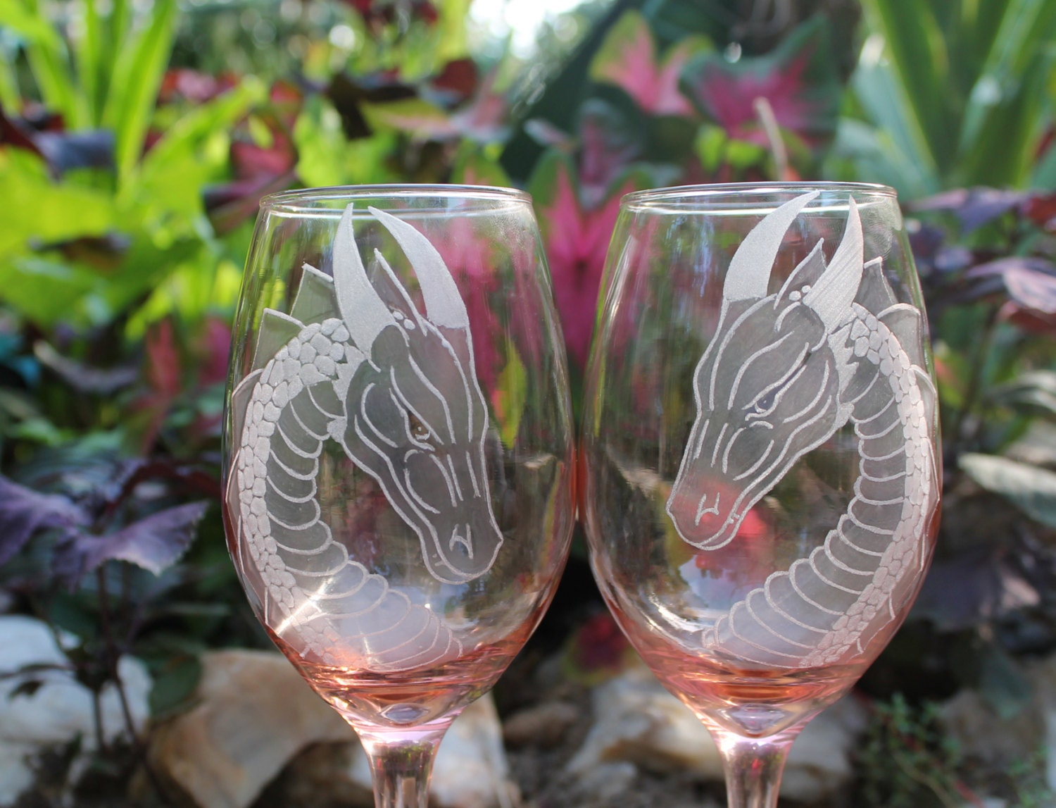 Dragon Wine Glasses Hand Engraved Wine Glasses Peachy Pink