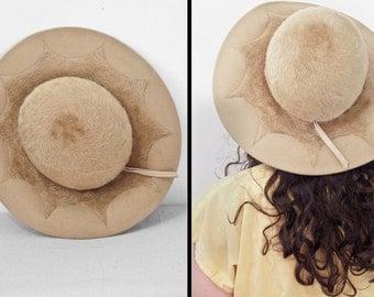 1950s BEAVER Hat // 1960s Anita Pineault // Golden Tan Tawny Canadian Made