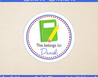 Personalized School Stickers - Notebook Stickers - Kids School Stickers - Back to School Stickers - Digital and Printed