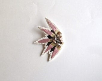 Hand embroidered brooch abstract starburst design with pink, pale yellow and brown colors with mother of pearl shell beads Summer fashion