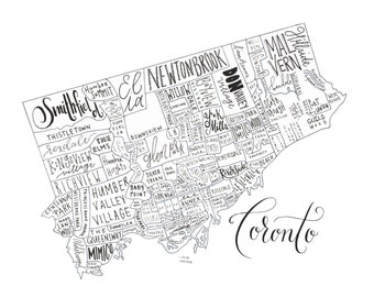 Toronto Neighborhood Map - 9x11 Handlettered & Printed