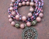 Bohemian Gypsy Dark Pink Wood Flower Medallion Charm Bracelet Stacker Set