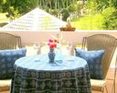 Hmong Indigo Batik Round Table Cloth Naturally Dyed Cotton 60, 75 or 90 Inch, Garden Wedding ** Free worldwide shipping **