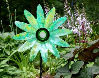 Hand painted Glass Yard Art, Outdoor Art Sun Catcher, Glass Garden Art, Home Décor with repurposed glassware