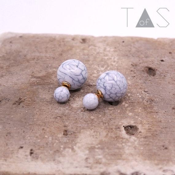 Marble Front and Back Earrings / Marble Earrings / Stud Earrings