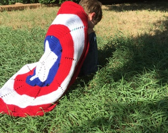 American Hero Cape Blanket Instant Download Crochet Pattern Inspired by Captain America