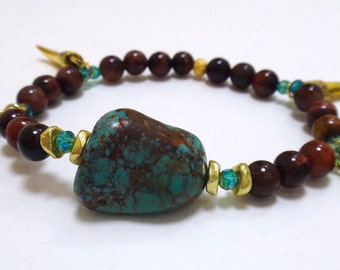 Red Tiger Eye Beaded Bracelet with Turquoise Gemstone, Gold/Turquoise Spacers and Four Gold Tooth Pendants