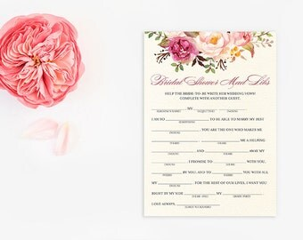 Instant Download - Original - Help the Bride-to-be Write Her Vows! - Printable Bridal Shower Mad Libs - Bridal Shower Games - Amaryllis EC10