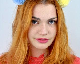Pastel Pom Pom Headband