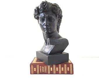 Male Face Sculpture, Renaissance Art, Planter, Garden Sculpture, Book End, For Library, Head, Garden Ornament, Home Decor, David Sculpture